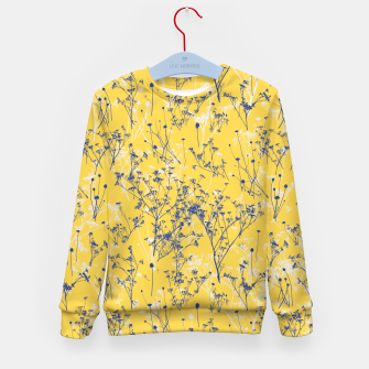 Thumbnail image of Blue Wildflowers Silhouettes on Mustard Yellow Pattern Kid's sweater, Live Heroes