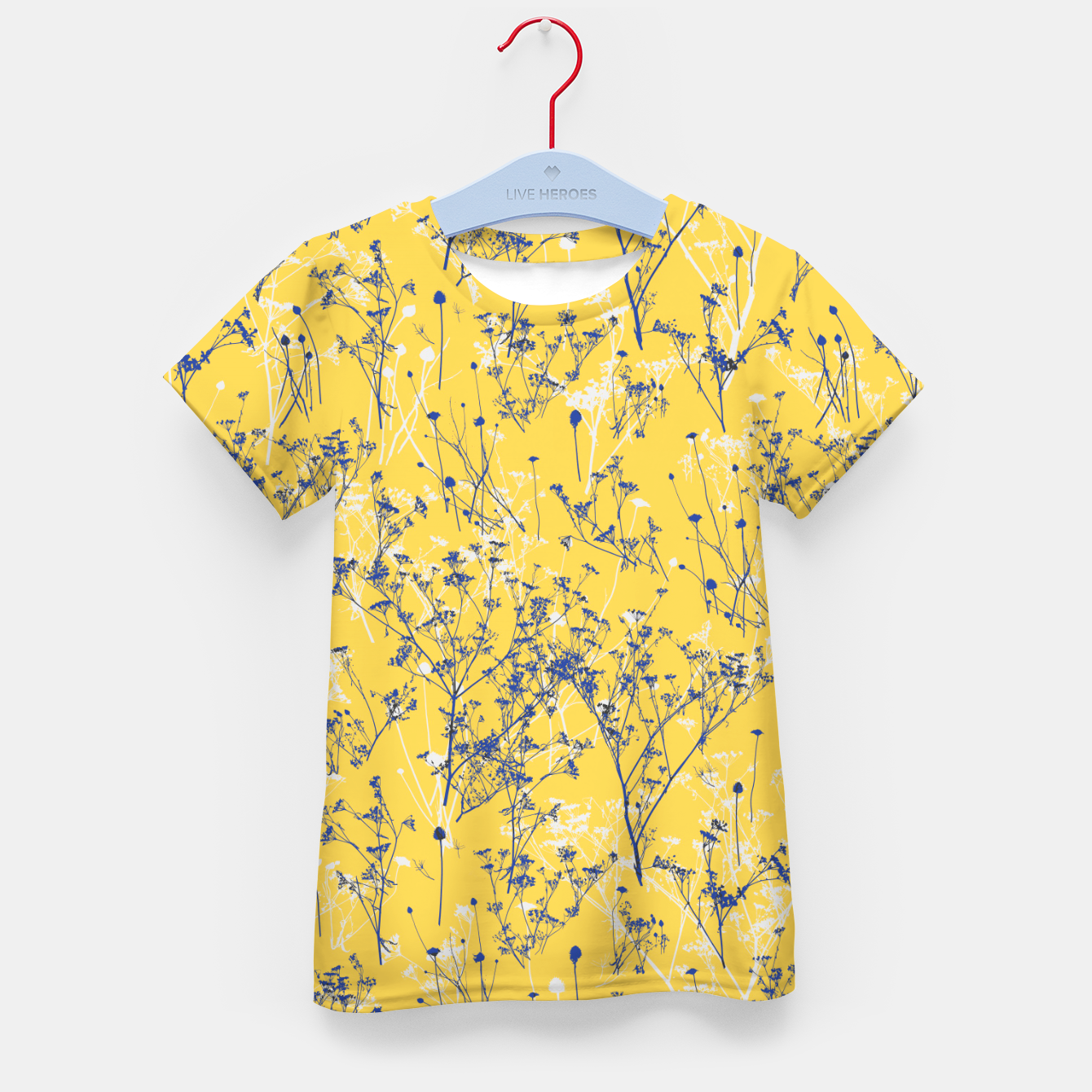 Image of Blue Wildflowers Silhouettes on Mustard Yellow Pattern Kid's t-shirt - Live Heroes