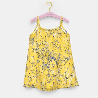 Thumbnail image of Blue Wildflowers Silhouettes on Mustard Yellow Pattern Girl's dress, Live Heroes