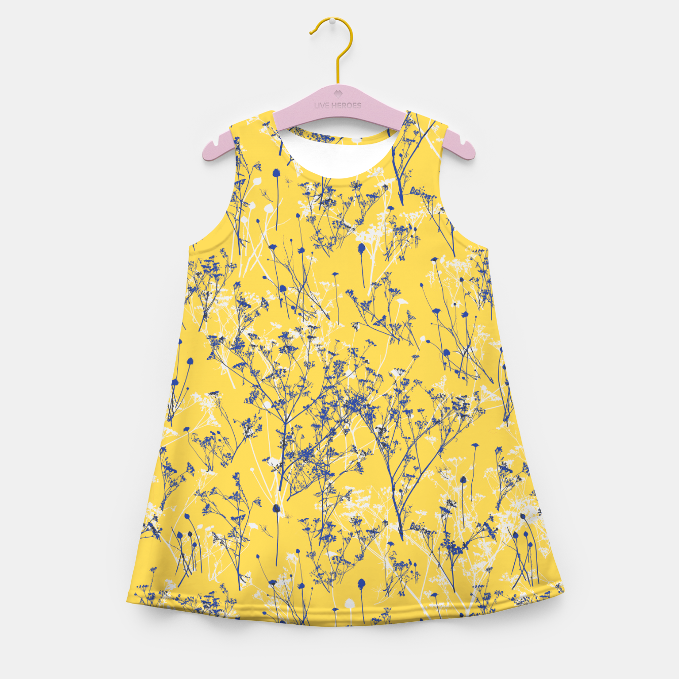 Image of Blue Wildflowers Silhouettes on Mustard Yellow Pattern Girl's summer dress - Live Heroes