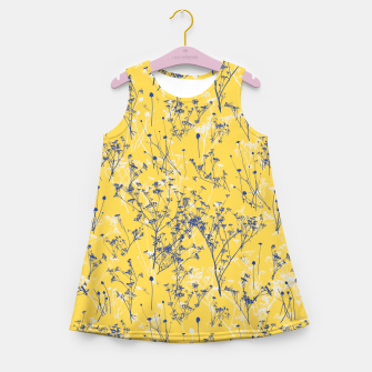 Thumbnail image of Blue Wildflowers Silhouettes on Mustard Yellow Pattern Girl's summer dress, Live Heroes