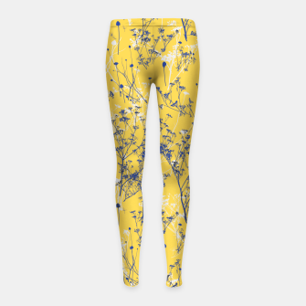 Thumbnail image of Blue Wildflowers Silhouettes on Mustard Yellow Pattern Girl's leggings, Live Heroes
