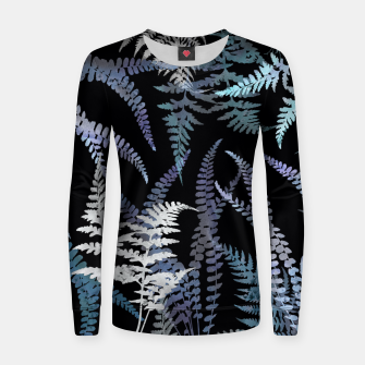 Thumbnail image of Dark Blue Forest Ferns Foliage Women sweater, Live Heroes