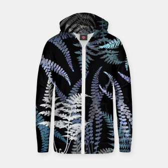 Thumbnail image of Dark Blue Forest Ferns Foliage Zip up hoodie, Live Heroes