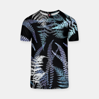 Thumbnail image of Dark Blue Forest Ferns Foliage T-shirt, Live Heroes