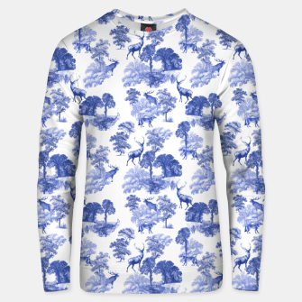 Thumbnail image of Classic Blue Toile Deer in Forest Pattern Unisex sweater, Live Heroes