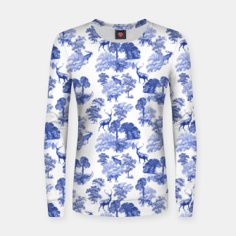 Thumbnail image of Classic Blue Toile Deer in Forest Pattern Women sweater, Live Heroes