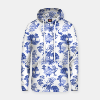 Thumbnail image of Classic Blue Toile Deer in Forest Pattern Hoodie, Live Heroes