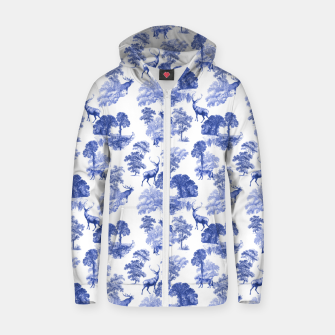 Thumbnail image of Classic Blue Toile Deer in Forest Pattern Zip up hoodie, Live Heroes