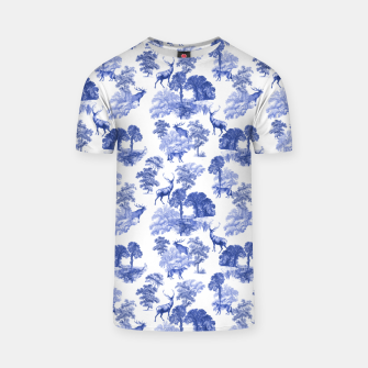 Thumbnail image of Classic Blue Toile Deer in Forest Pattern T-shirt, Live Heroes