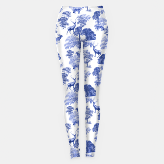 Thumbnail image of Classic Blue Toile Deer in Forest Pattern Leggings, Live Heroes