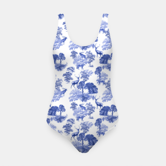 Thumbnail image of Classic Blue Toile Deer in Forest Pattern Swimsuit, Live Heroes