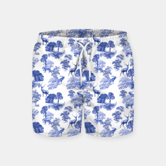 Thumbnail image of Classic Blue Toile Deer in Forest Pattern Swim Shorts, Live Heroes