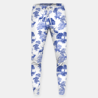 Thumbnail image of Classic Blue Toile Deer in Forest Pattern Sweatpants, Live Heroes