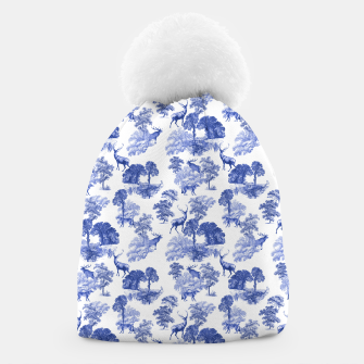 Thumbnail image of Classic Blue Toile Deer in Forest Pattern Beanie, Live Heroes