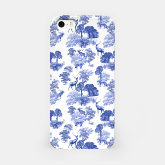 Thumbnail image of Classic Blue Toile Deer in Forest Pattern iPhone Case, Live Heroes