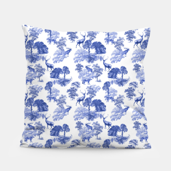 Thumbnail image of Classic Blue Toile Deer in Forest Pattern Pillow, Live Heroes