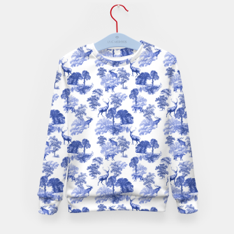 Thumbnail image of Classic Blue Toile Deer in Forest Pattern Kid's sweater, Live Heroes