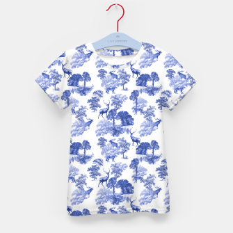 Thumbnail image of Classic Blue Toile Deer in Forest Pattern Kid's t-shirt, Live Heroes