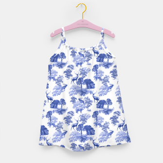 Thumbnail image of Classic Blue Toile Deer in Forest Pattern Girl's dress, Live Heroes