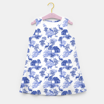 Thumbnail image of Classic Blue Toile Deer in Forest Pattern Girl's summer dress, Live Heroes
