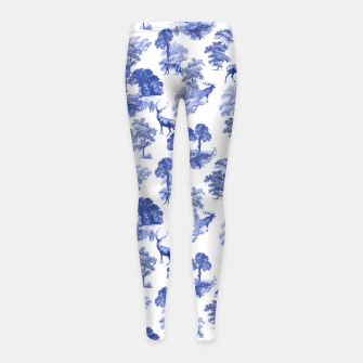 Thumbnail image of Classic Blue Toile Deer in Forest Pattern Girl's leggings, Live Heroes