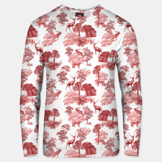 Thumbnail image of Classic Red Toile Deer in Forest Pattern Unisex sweater, Live Heroes