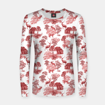 Thumbnail image of Classic Red Toile Deer in Forest Pattern Women sweater, Live Heroes
