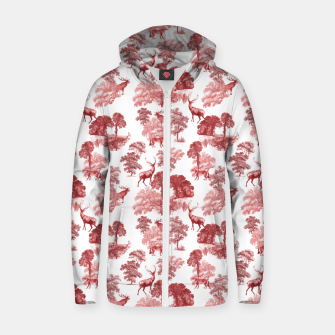 Thumbnail image of Classic Red Toile Deer in Forest Pattern Zip up hoodie, Live Heroes