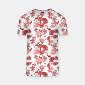 Thumbnail image of Classic Red Toile Deer in Forest Pattern T-shirt, Live Heroes
