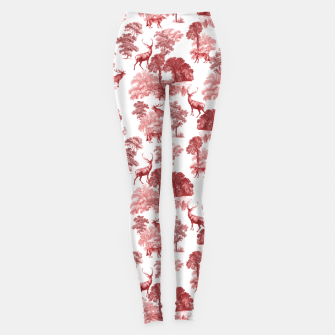 Thumbnail image of Classic Red Toile Deer in Forest Pattern Leggings, Live Heroes