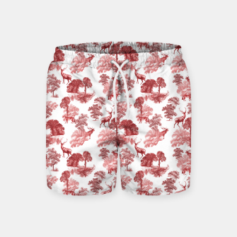 Thumbnail image of Classic Red Toile Deer in Forest Pattern Swim Shorts, Live Heroes