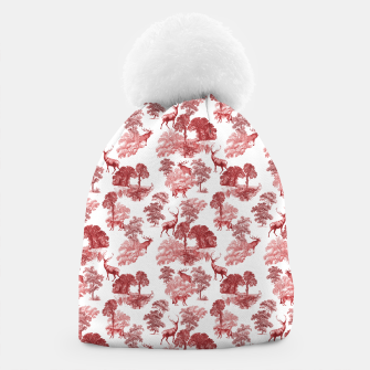 Thumbnail image of Classic Red Toile Deer in Forest Pattern Beanie, Live Heroes