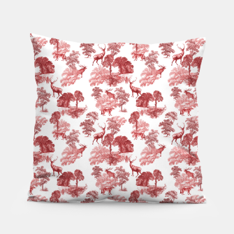 Thumbnail image of Classic Red Toile Deer in Forest Pattern Pillow, Live Heroes