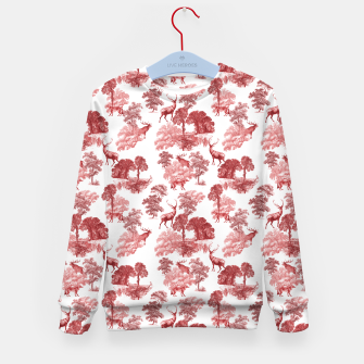 Thumbnail image of Classic Red Toile Deer in Forest Pattern Kid's sweater, Live Heroes