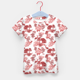 Thumbnail image of Classic Red Toile Deer in Forest Pattern Kid's t-shirt, Live Heroes