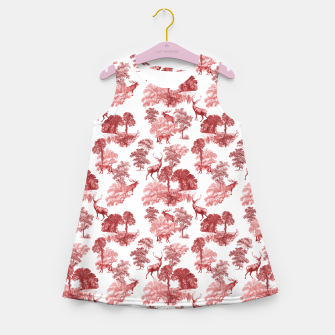 Thumbnail image of Classic Red Toile Deer in Forest Pattern Girl's summer dress, Live Heroes