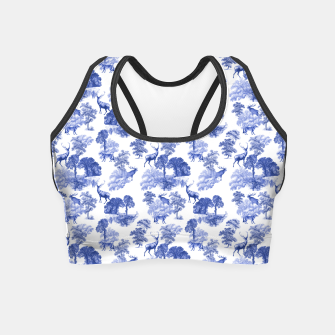 Thumbnail image of Classic Blue Toile Deer in Forest Pattern Crop Top, Live Heroes