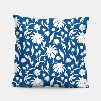 Miniatur Elegant White Cone Flowers on Classic Blue Pillow, Live Heroes