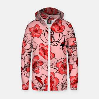 Thumbnail image of Red flower pattern Sweat capuche zippé , Live Heroes