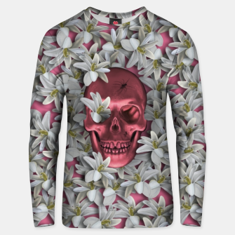 Thumbnail image of Pink skull and flowers Unisex sweater, Live Heroes