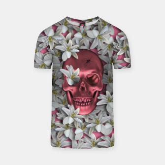 Thumbnail image of Pink skull and flowers T-shirt, Live Heroes