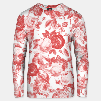 Thumbnail image of Elegant Romantic Toile Red Roses Floral on White Unisex sweater, Live Heroes