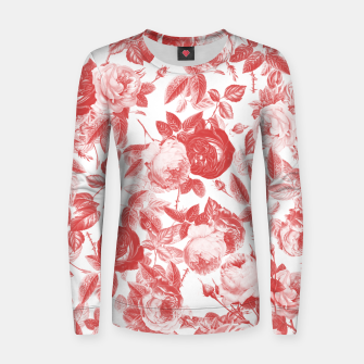 Thumbnail image of Elegant Romantic Toile Red Roses Floral on White Women sweater, Live Heroes