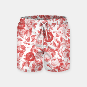 Thumbnail image of Elegant Romantic Toile Red Roses Floral on White Swim Shorts, Live Heroes