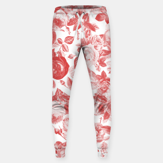 Thumbnail image of Elegant Romantic Toile Red Roses Floral on White Sweatpants, Live Heroes