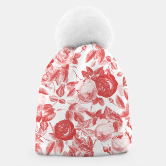 Thumbnail image of Elegant Romantic Toile Red Roses Floral on White Beanie, Live Heroes