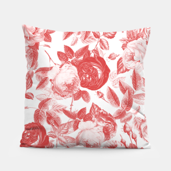 Thumbnail image of Elegant Romantic Toile Red Roses Floral on White Pillow, Live Heroes