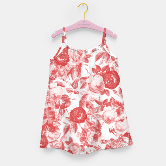 Thumbnail image of Elegant Romantic Toile Red Roses Floral on White Girl's dress, Live Heroes