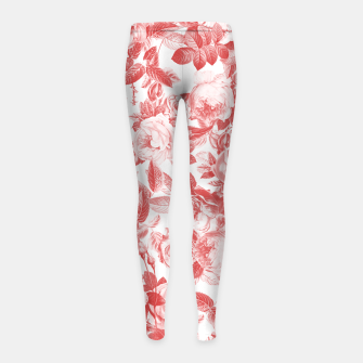 Thumbnail image of Elegant Romantic Toile Red Roses Floral on White Girl's leggings, Live Heroes